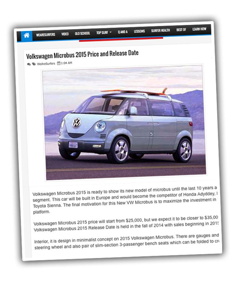 new car releases 2015 europeWhy Is This Surfing Website Lying About A 2015 VW Microbus
