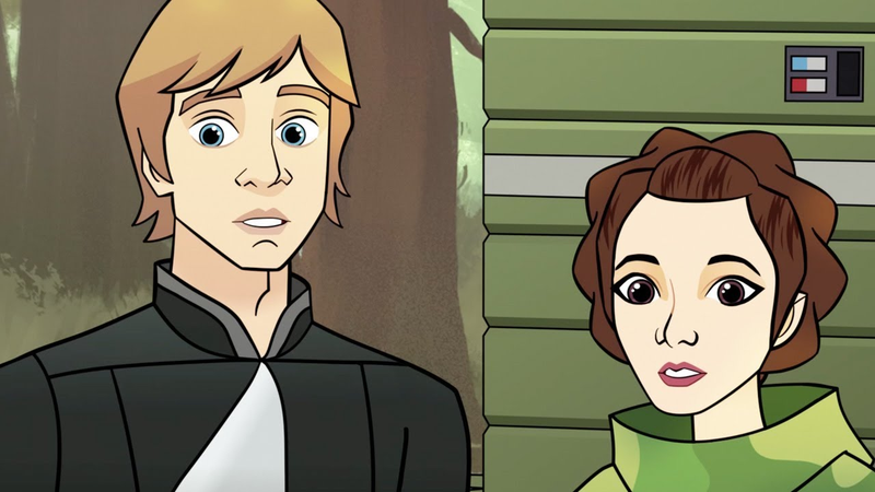 Luke and Leia, mildly surprised.