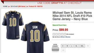 Michael Sam's jerseyNFLShop.com Screenshot