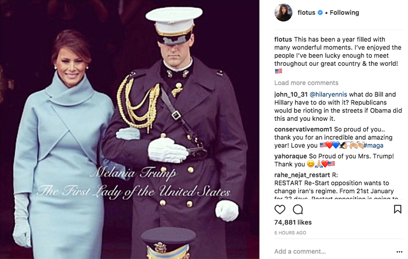 Illustration for article titled Melania Trump Memorializes Her First Year as FLOTUS With Some Dude