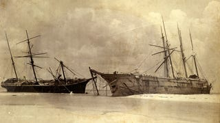 """Three ships left marooned on Dog Island after the 1899 Carrabelle Hurricane, including from left the Norwegian bark """"Vale"""", the Norwegian bark """"Jafnhar"""", and in the far right corner, the American schooner """"James A. Garfield""""."""