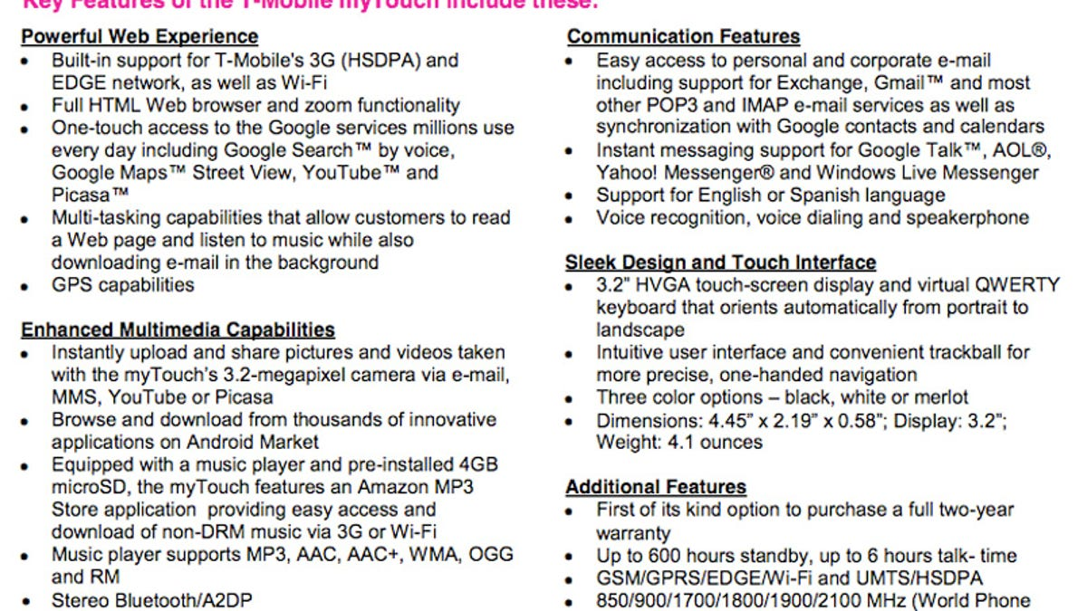 T-Mobile myTouch 3G Gets Official, Preorders Start July 8