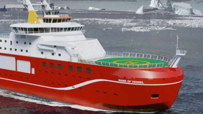 Computer-generated image of the RRS David Attenborough, as it will forever wrongly be called