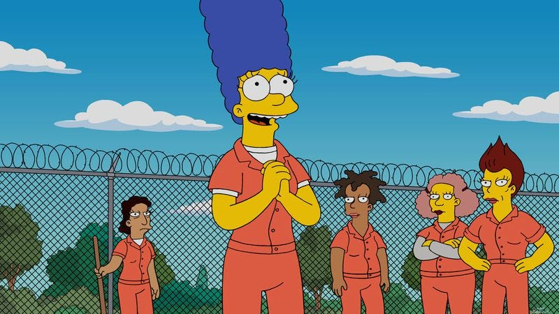 Illustration for article titled Marge goes to the slammer as The Simpsons sputters to the Season 27 finish line