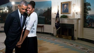 The first lady snuggled against the president during a videotaping for the 2015 World Expo in the Diplomatic Reception Room of the White House on March 27, 2015.Amanda Lucidon/White House