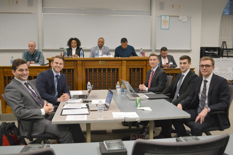 (Left to right) Chapman University's Spencer Shain and Jared Silverstone take on Villanova University's Tyler MacDougall, Jason Kaner, and Anthony Malky in the championship round of Tulane Sports Law's 4th Annual Professional Football Negotiation Competition. (Alina Hernandez/Tulane University Law School)