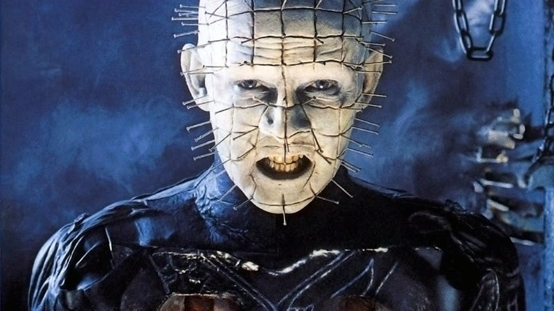 Pinhead as he looked on the first Hellraiser poster, as portrayed by horror icon Doug Bradley.