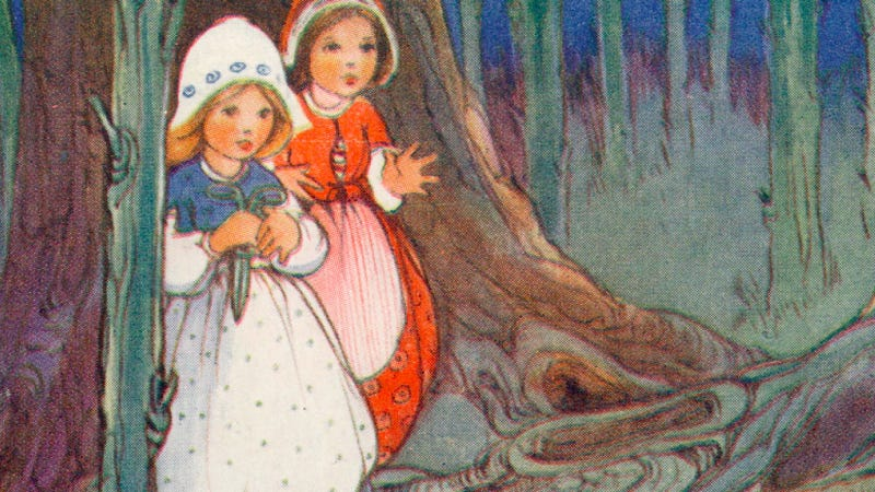 Postcard showing Snow White and Rose Red in the forest, Raphael Tuck & Sons, Grimm's Fairy Tales, circa 1812. (Photo by Hulton Archive/Getty Images)