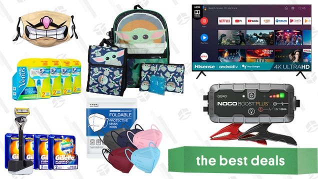 Sunday s Best Deals: Hisense 70  4K TV, The Child Backpack and Lunchbox Set, KN95 Face Masks, Gillette Razor Refills, Noco Boost Plus Jump Starter, and More