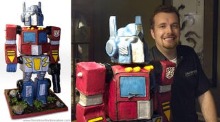 Illustration for article titled Gigantic Optimus Prime Birthday Cake Forcefully Removes Socks From Feet