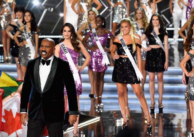 Steve Harvey appears during the 2017 Miss Universe Pageant at The Axis at Planet Hollywood Resort & Casino on Nov. 26, 2017, in Las Vegas.