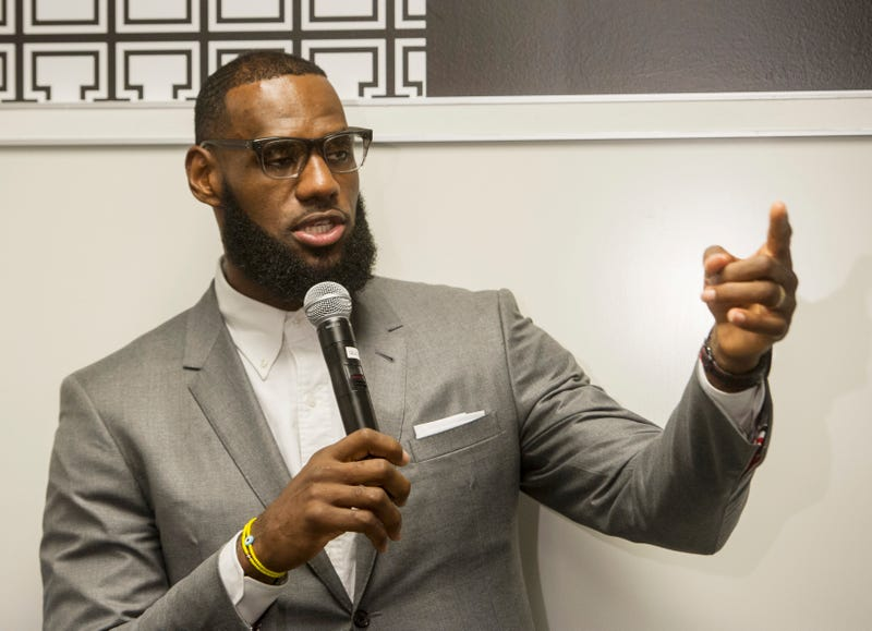 LeBron James speaks at a news conference after the opening ceremony for the I Promise School in Akron, Ohio, Monday, July 30, 2018. The I Promise School is supported by the The LeBron James Family Foundation and is run by the Akron Public Schools.