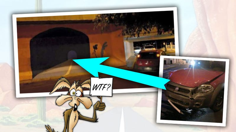 Illustration for article titled Real-Life Wile E. Coyote Drives Fiat Smack Into Painting Of Tunnel