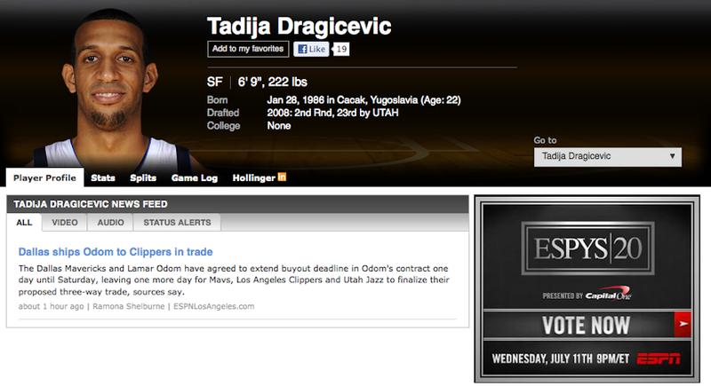 Illustration for article titled Four-Team Trade Sends Lamar Odom To The Clippers, ESPN Searching For New Picture Of Tadija Dragićević