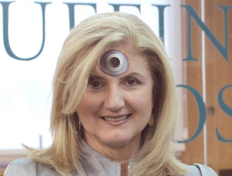 Illustration for article titled Arianna Huffington Has Webcam Implanted In Forehead