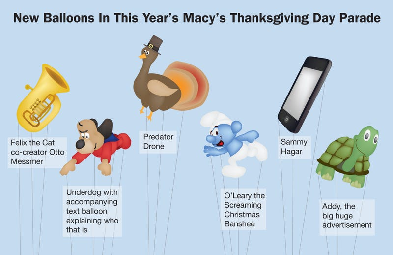 Illustration for article titled New Balloons In This Year's Macy's Thanksgiving Day Parade