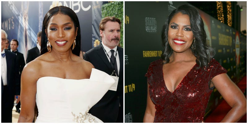 (l-r) Angela Bassett attends the 70th Annual Primetime Emmy Awards on Sept. 17, 2018 in Los Angeles, California; Omarosa Manigault Newman attends the premiere of Briarcliff Entertainment's 'Fahrenheit 11/9' on Sept. 19, 2018 in Beverly Hills, California.