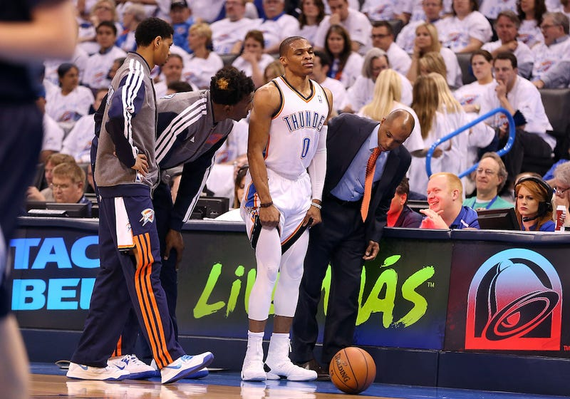"Illustration for article titled ""I'm Coming To Kill You"": OKC Ball Boy Not Happy With Westbrook Injury"