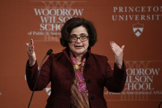 Sophie Meunier, a research scholar at the Woodrow Wilson School of Public and International Affairs at Princeton University, speaks at Princeton University in New Jersey on Feb. 23, 2015.KENA BETANCUR/AFP/Getty Images