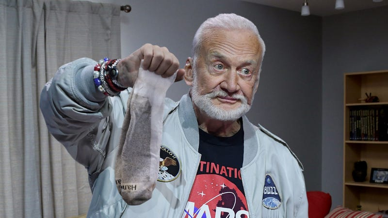 Illustration for article titled 'Yeah, I Totally Wore These On The Moon,' Says Buzz Aldrin Selling Old Pair Of Gym Socks To Complete Sucker For $500,000