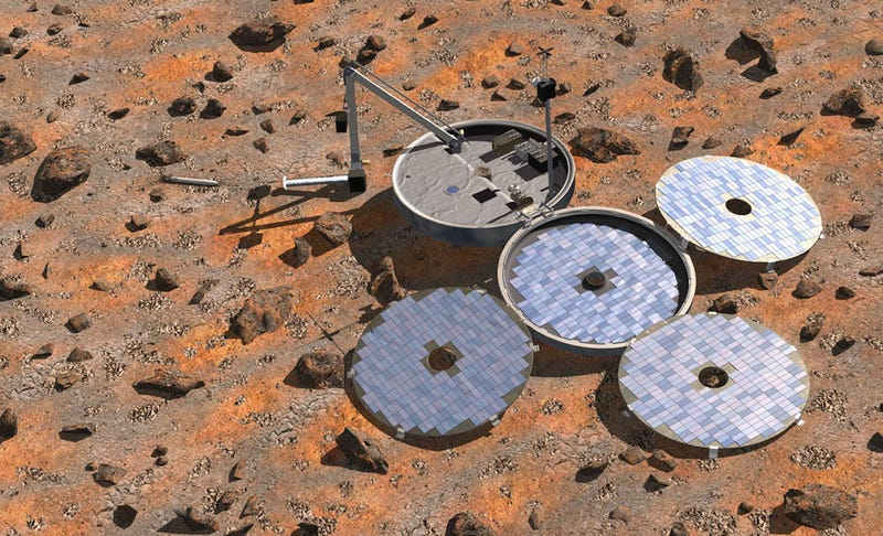 Artist's impression of the British Beagle 2 lander, its four solar panels properly deployed, collecting data on the Red Planet's surface. Image: ESA/Denman productions