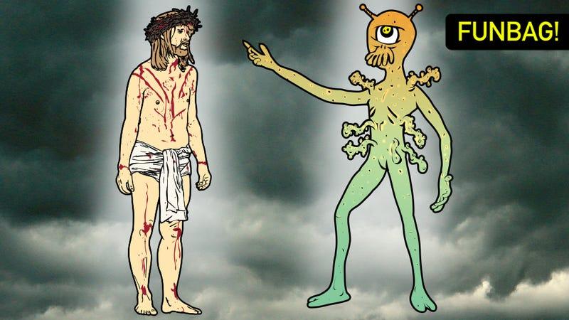 Illustration for article titled Jesus vs. Aliens: WHO YOU GOT?!