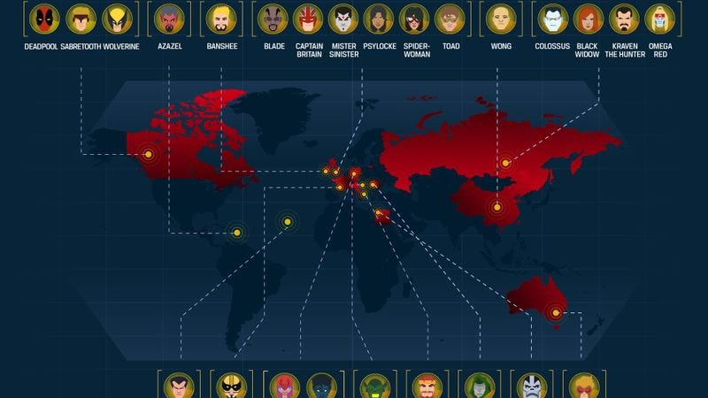 Illustration for article titled Here's the birth locations of 75 Marvel characters, mapped across the world