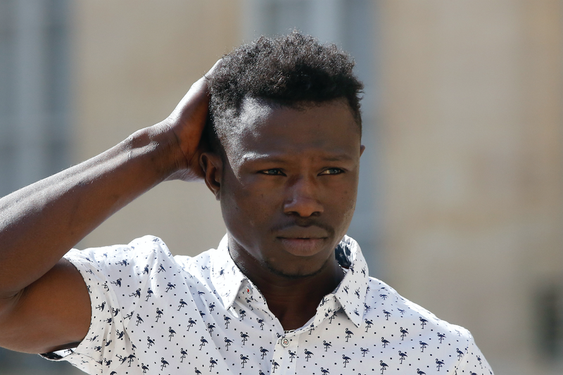 Hero Mamoudou Gassama, who rescued a dangling four-year-old from a balcony in Paris.