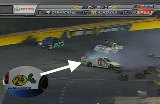 Illustration for article titled NASCAR Team Slaps LeMons Sticker On Race Truck, Promptly Wrecks