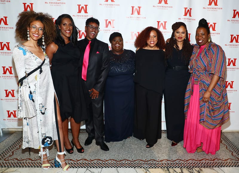 Elaine Welteroth, Teresa Younger, Shannan Reaze, Monica Simpson, Joanne Smith, Ava DuVernay and Tarana Burke attend the Ms. Foundation 30th Annual Gloria Awards at Capitale on May 3, 2018, in New York City.