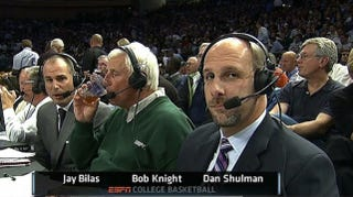 Illustration for article titled Was Bob Knight Drinking Iced Tea Or Beer As He Watched Coach K Break His Record?