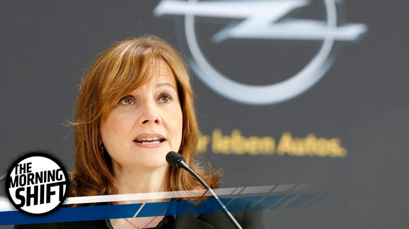 "GM CEO Mary Barra visits Opel in 2014, no doubt wondering ""What the hell am I supposed to do with this thing?"" Photo credit AP"