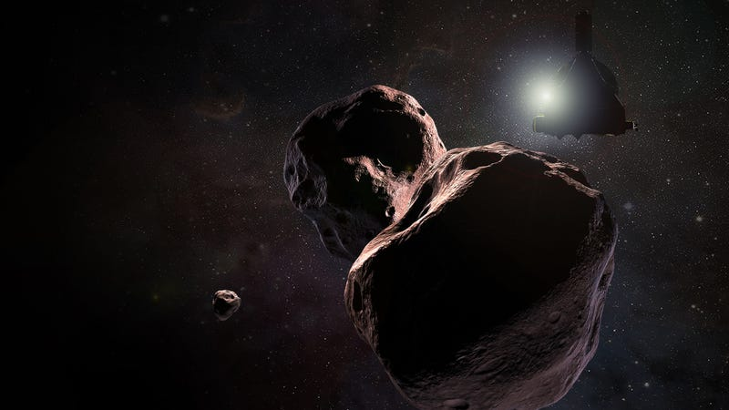 Artist's impression of New Horizons flying past Ultima Thule. This image appears to exaggerate how close the spacecraft will get—its current trajectory will put it at within 2,200 miles (3,500 kilometers) of the distant Kuiper Belt object.