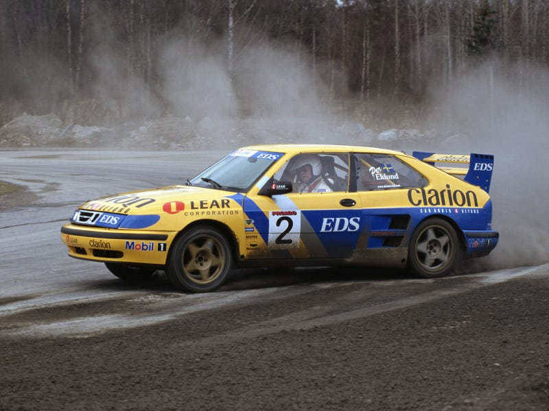 Illustration for article titled But on a serious note, here have a Saab 9-3 turbo rallycross car.