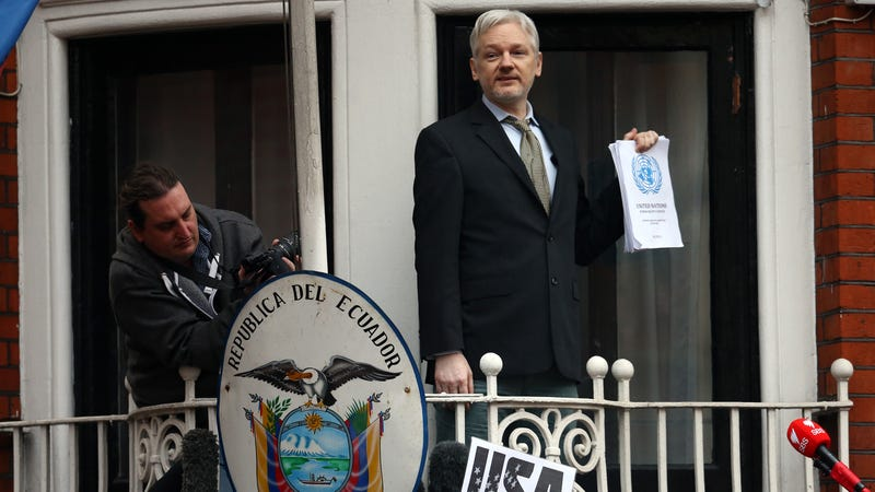 Julian Assange at the embassy in 2016.