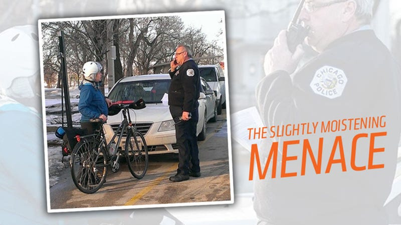 Illustration for article titled Woman On Bike Attacks Car Photoshoot With Water, Doesn't See Cop