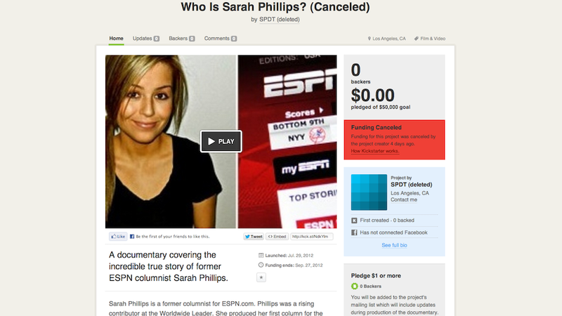 Illustration for article titled Would You Like To Donate Money To A $50,000 Sarah Phillips Documentary? If So, You Are Too Late