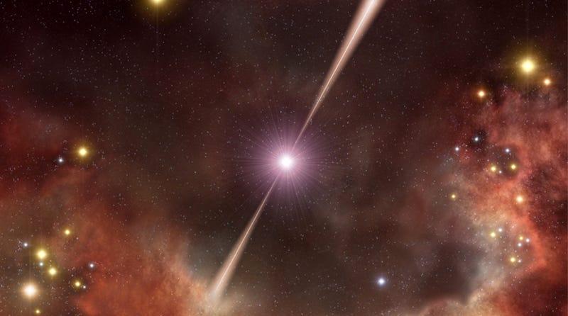 Impresión artística de un brote de rayos gamma. Imagen: ESO
