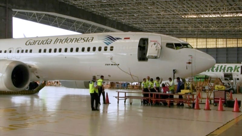 Boeing 737 Max-8 aircraft being inspected at Garuda Maintenance Facility at Soekarno Hatta airport, Jakarta on March 12, 2019