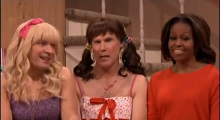 """Screenshot of Michelle Obama inThe Tonight Show's """"Ew!"""" skit with Jimmy Fallon and Will FerrellYouTube"""