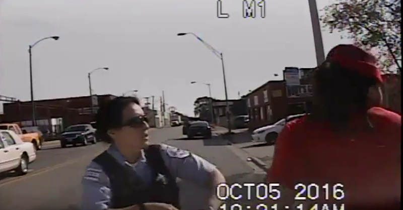 Scene from footage showing incident involving police officer and Parta Huff in ChicagoChicago Police Department