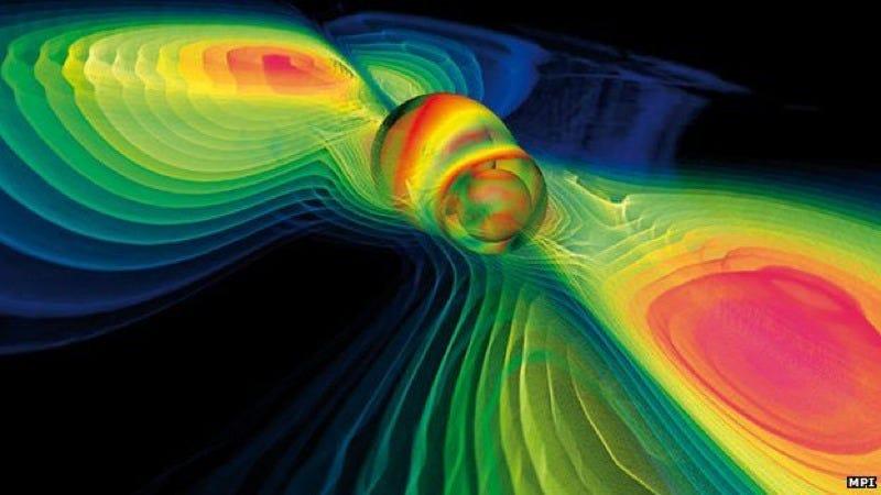 Visualization of gravitational waves. Credit: Werner Benger/Wikimedia.