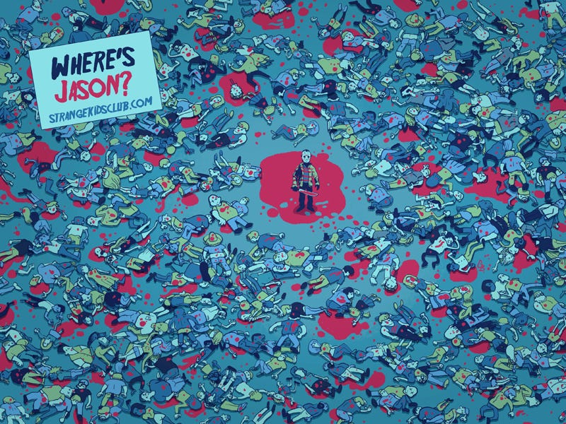Illustration for article titled What if Where's Waldo went on a killing spree? Behold, Where's Jason!