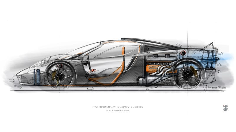 Illustration for article titled The GMA T.50 Is a Wildly Muscled Super-Light Car From the Designer of the McLaren F1