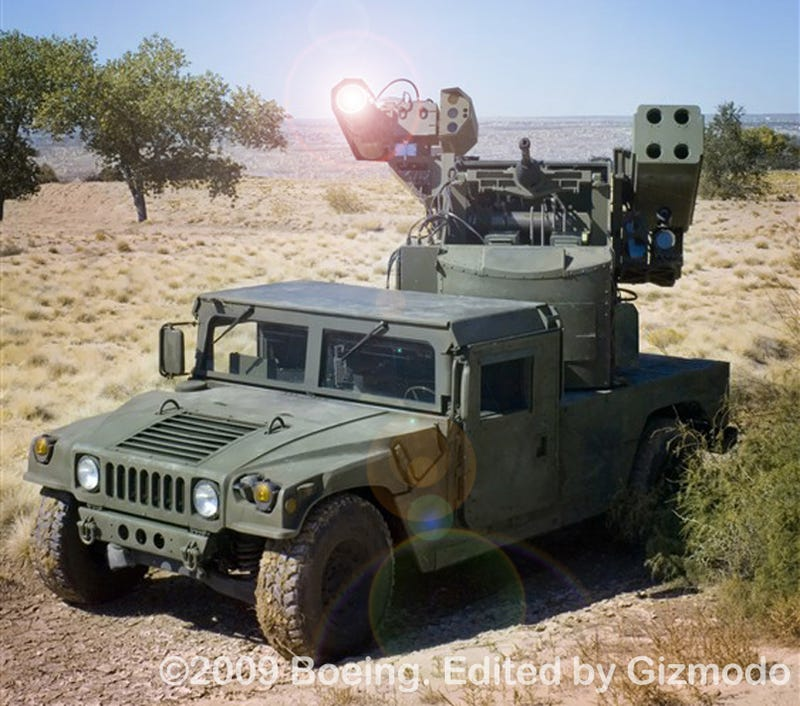 Illustration for article titled Video of Humvee-Mounted Laser Avenger Killing Bombs
