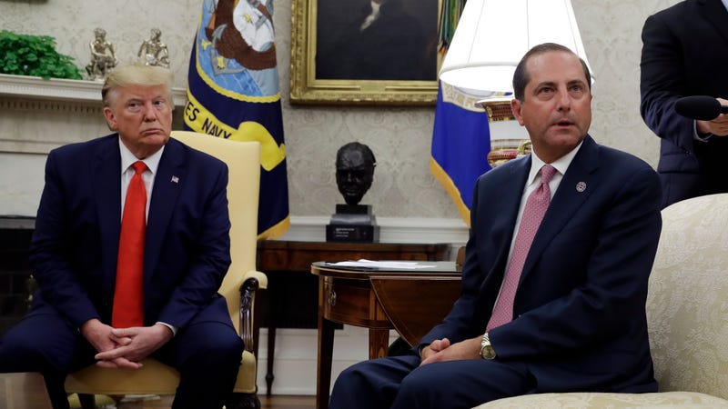 President Donald Trump and Health and Human Services Secretary Alex Azar talk to the media in the Oval Office, Wednesday, Sept. 11, 2019, at the White House in Washington.