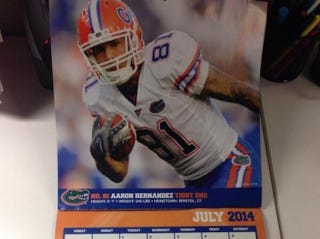Illustration for article titled Aaron Hernandez Is In This 2014 Florida Gators Calendar