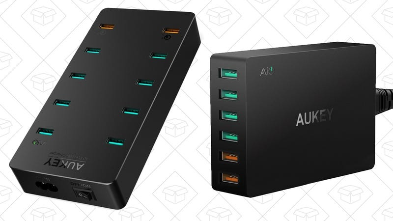 10-Port USB Hub with QC 3.0, $32 with code AUKEYTEN | 6-Port USB Hub with QC 3.0, $23 with code AUKEYWAL