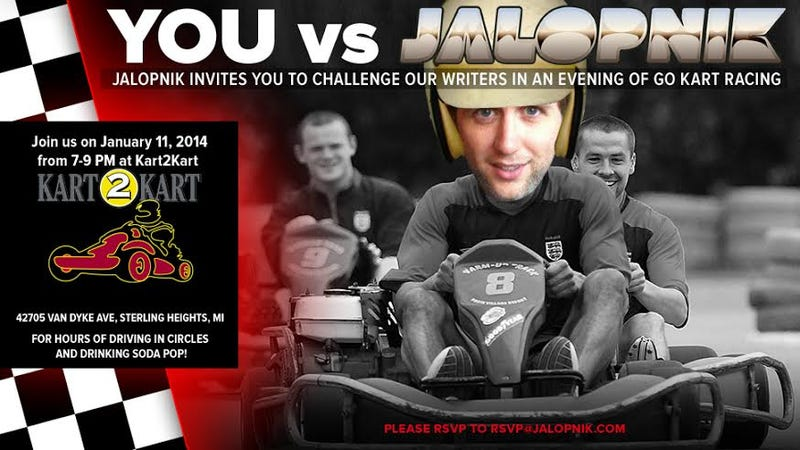 Illustration for article titled Are You Faster Than A Jalopnik Writer? Come Karting With Us This Week