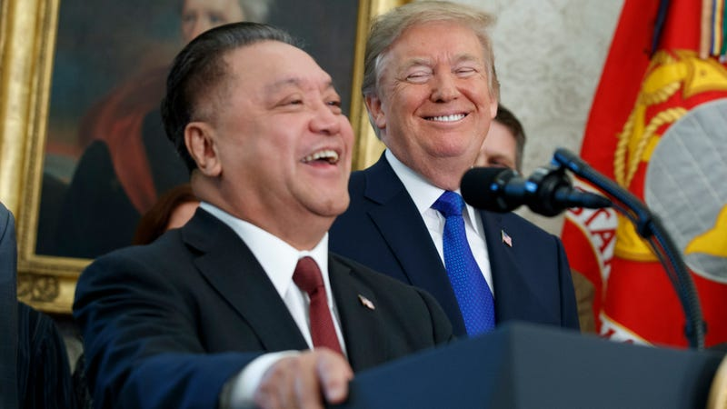 Donald Trump and Broadcom CEO Hock Tan at the White House in November 2017.